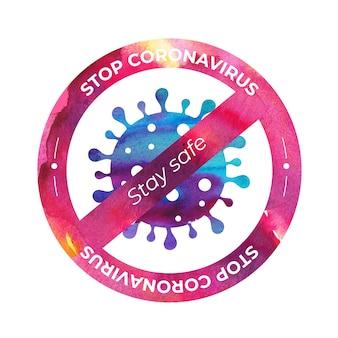 Ikona wirusa koronowego z zakazem znak w stylu przypominającym akwarele