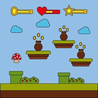 Ikona worek pieniędzy ikona gry wideo poziom postępu rozrywki