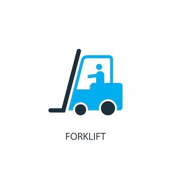 Ikona wózka widłowego. ilustracja elementu logo. projekt symbolu wózka widłowego z 2 kolorowych kolekcji. prosta koncepcja wózka widłowego. może być używany w sieci i na urządzeniach mobilnych.