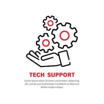 Ikona wsparcia technicznego. ręka z biegami. operatora call center i ikony usług. wektor na na białym tle. eps 10.