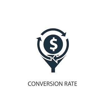Ikona współczynnika konwersji. prosta ilustracja elementu. projekt symbolu koncepcji współczynnika konwersji. może być używany w sieci i na urządzeniach mobilnych.