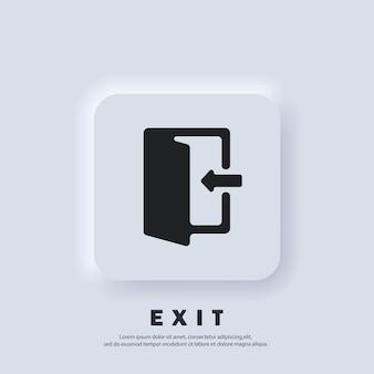 Ikona wyjścia i wejścia. ikona wyjścia. wektor. ikona interfejsu użytkownika. profilowane otwarte drzwi ze strzałką. biały przycisk sieciowy interfejsu użytkownika neumorphic ui ux. styl neumorfizmu.