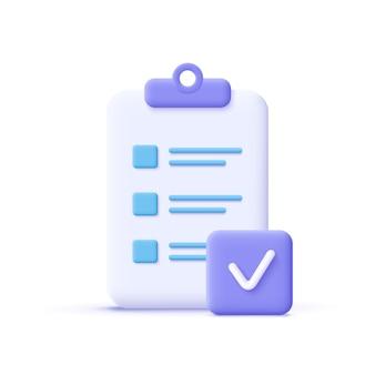 Ikona wykonania zadania. schowek, symbol listy kontrolnej. ilustracja wektorowa 3d.