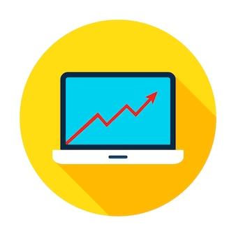 Ikona wykres wzrostu laptopa. wektor ilustracja płaski element koło z długim cieniem. analiza danych.