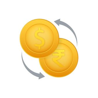 Ikona wymiany pieniędzy. znak bankowy. rupia i symbol transferu gotówki dolar. czas ilustracja wektorowa.