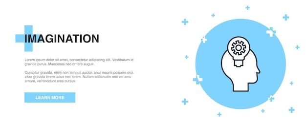Ikona wyobraźni, koncepcja szablon zarys transparentu. projekt ilustracji linii wyobraźni