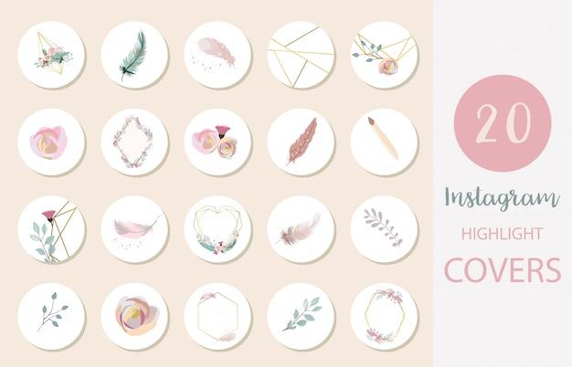 Ikona wyróżniającej okładki instagramu z kwiatkiem, piórkiem, listkiem do mediów społecznościowych