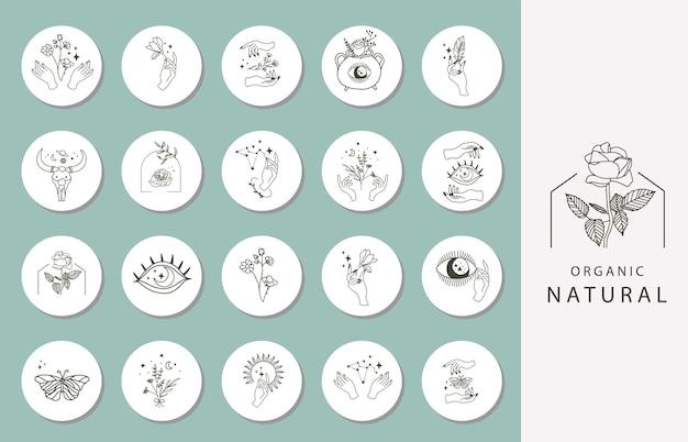 Ikona wyróżniającej się okładki instagramu z kwiatkiem, ręką, okiem do mediów społecznościowych