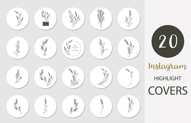 Ikona Wyróżniającej Się Okładki Instagramu Z Lawendą, Kwiatkiem, Liściem W Stylu Boho Do Mediów Społecznościowych Premium Wektorów