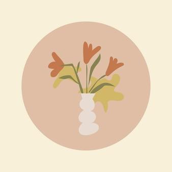 Ikona wyróżnienia kwiatu instagram, estetyczna ilustracja doodle w wektorze projektowania tonu ziemi