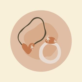 Ikona wyróżnienia piękna instagram, biżuteria doodle w wektorze projektowania tonu ziemi
