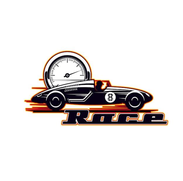 Ikona wyścigów samochodowych, wyścigi pojazdów zabytkowych i przejażdżki prędkości, symbol wektor. stare silniki i wyścigi samochodów sportowych i mistrzostwa driftingu lub drag racing, ikona klubu sportowego