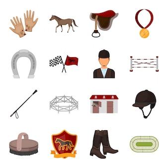 Ikona wyścigu kreskówka zestaw. kreskówka na białym tle zestaw ikona dżokej sprzętu. ilustracja wyścig jeździecki.