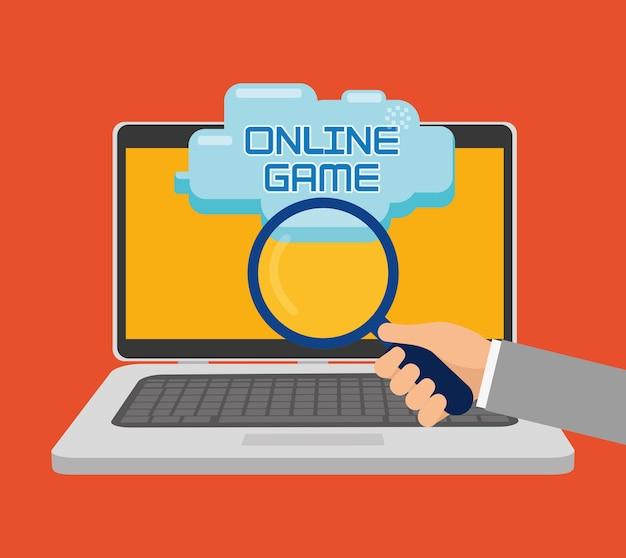Ikona wyszukiwania laptopa w grze online