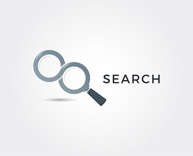 Ikona wyszukiwania pracy ze szkłem powiększającym wybierz ludzi do zatrudnienia symbol logo pracy lub pracownika ilustracja agencji rekrutacyjnej