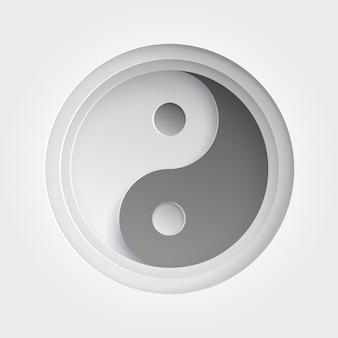 Ikona yin yang. papierowa ilustracja z cieniem