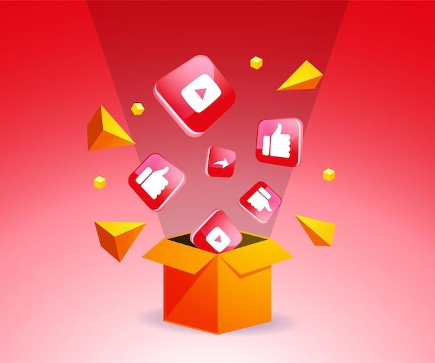 Ikona youtube po wyjęciu z pudełka koncepcji mediów społecznościowych