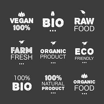 Ikona z ekologicznymi naturalnymi naklejkami grunge produkt naturalny ekologiczny baner wstążkowy