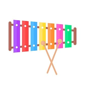 Ikona zabawka prosty ksylofon. koncepcja dźwięku, nastrojony, koncert, młotek, kreatywność, wielokolorowy instrument, barwa, hałas, dziecinna. płaski trend w stylu nowoczesny projekt graficzny logo na białym tle
