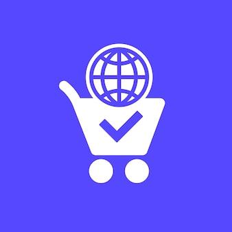 Ikona zakupów online z koszykiem i kulą ziemską