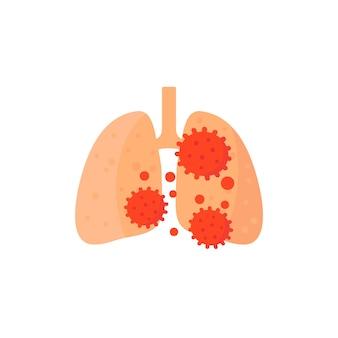 Ikona zapalenia płuc, wirus w płucach