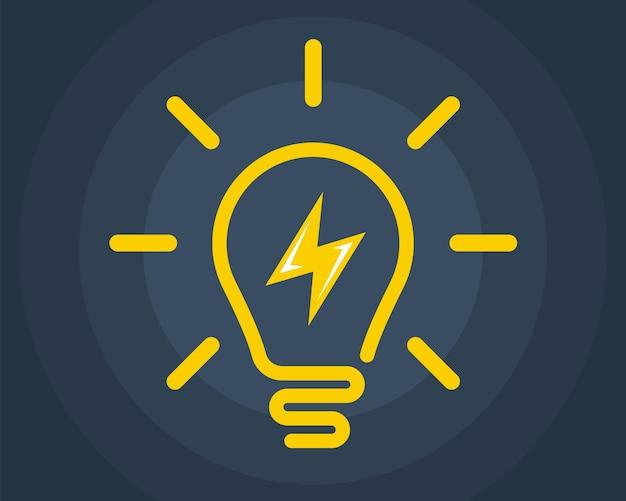 Ikona żarówki, w której błyskawica znajduje się wewnątrz płaskiej ilustracji wektorowych piktogramu oświetleniowego