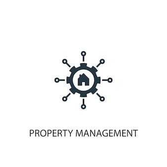 Ikona zarządzania nieruchomością. prosta ilustracja elementu. projekt symbol koncepcji zarządzania nieruchomościami. może być używany w sieci i na urządzeniach mobilnych.