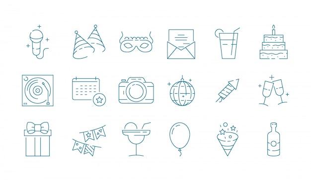 Ikona zdarzenia impreza festiwal urodziny uroczystości rozrywka zabawa wektor cienka linia symboli kolekcja