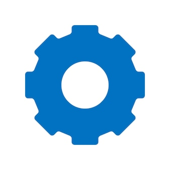Ikona zębatki. prosta płaska konstrukcja. piktogram niebieski. płaskie wektor ilustracja koncepcja na białym tle
