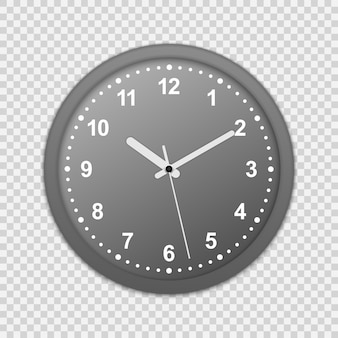 Ikona zegara na ścianie biura. makieta do znakowania i reklamowania na przezroczystym tle