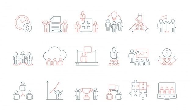 Ikona zespołu prosty biznes. komunikacja społeczna spotkanie grupy lub osoby praca dyskusja prezentacja cienka linia kolorowe symbole
