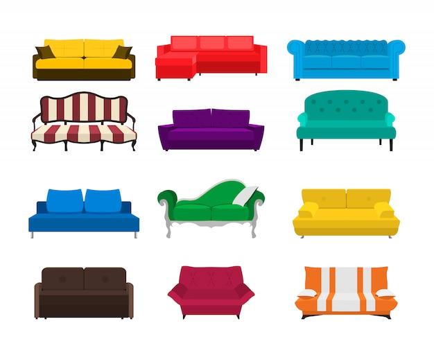 Ikona zestawu sofa. kolorowa kolekcja odizolowywająca