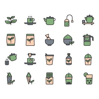 Ikona zielonej herbaty i zestaw symboli