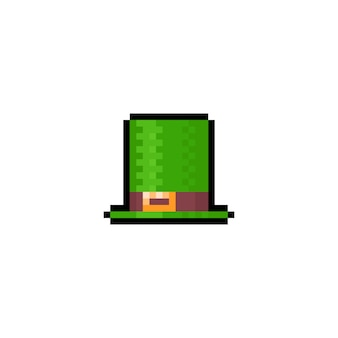 Ikona zielony kapelusz sztuki pikseli.