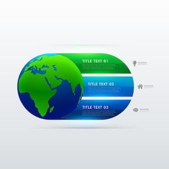 Ikona ziemi z trzech kroków szablonu