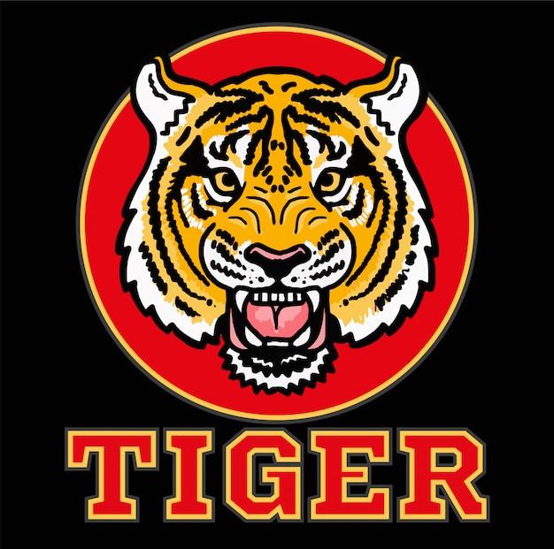 """Ikona zła głowa dzikiego japońskiego tygrysa na czerwonym kółku z napisem """"tygrys"""". sportowa maskotka z logo."""