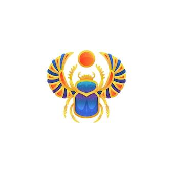 Ikona złotego egipskiego skarabeusza z niebieską emalią, płaskie wektor ilustracja na białym tle na białej powierzchni