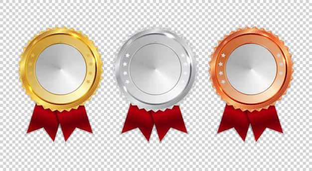 Ikona złotego, srebrnego i brązowego medalu mistrza znak pierwsze, drugie i trzecie miejsce w kolekcji