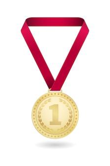 Ikona złoty medal na białym tle