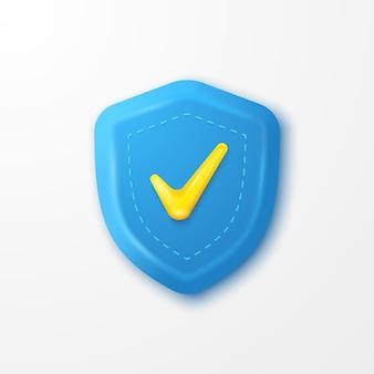 Ikona znacznika wyboru zabezpieczenia tarczy w kolorze niebieskim