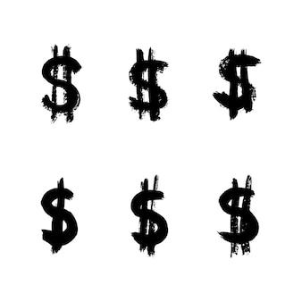 Ikona znak dolara pociągnięcia pędzlem atramentu. wektor grunge znak interpunkcyjny i symbol dla bloga, mediów społecznościowych, logo, aplikacji internetowych, drukowania. ręcznie rysuj ikony na białym tle