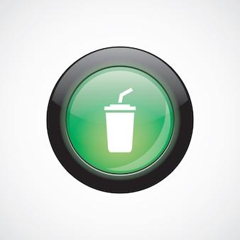Ikona znak szkła kawy zielony przycisk błyszczący. przycisk strony interfejsu użytkownika