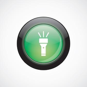 Ikona znak szkła latarki zielony błyszczący przycisk. przycisk strony interfejsu użytkownika