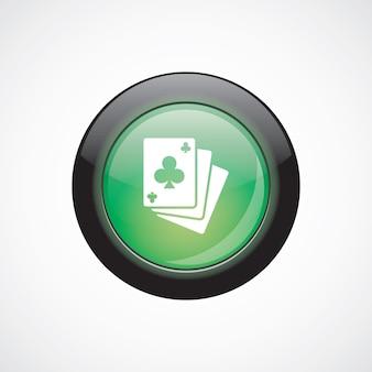 Ikona znak szkła pokera zielony błyszczący przycisk. przycisk strony interfejsu użytkownika