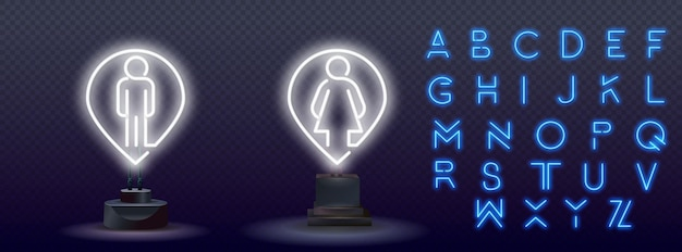 Ikona znak wc wc białe światło neonowe świecące kobieta i mężczyzna symbol neon. prosta ikona dla stron internetowych, projektowania stron internetowych, aplikacji mobilnej, grafiki informacyjnej