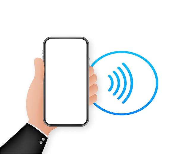 Ikona znaku płatności bezdotykowej bezprzewodowej. technologia nfc