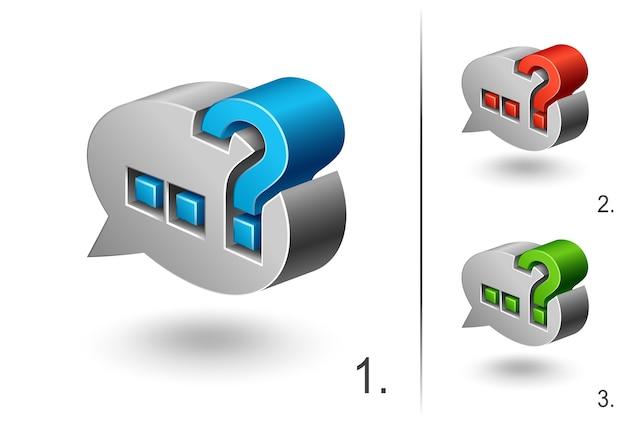Ikona znaku zapytania 3d, ustaw projekt elementu sieci web