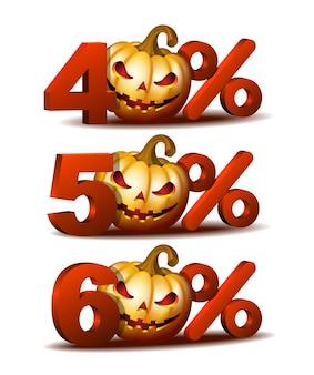 Ikona zniżki czterdzieści, pięćdziesiąt i sześćdziesiąt procent z dynią halloweenową scary jack o lantern