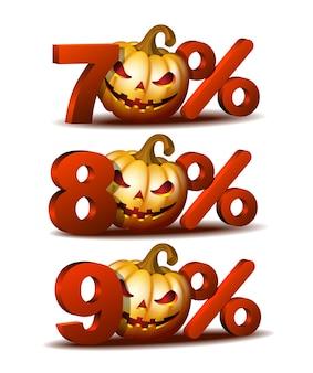 Ikona zniżki na siedemdziesiąt, osiemdziesiąt i dziewięćdziesiąt procent z dynią halloweenową scary jack o lantern