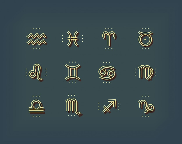 Ikona zodiaku. święte symbole. znaki astrologiczne. kolekcja vintage cienka linia. na ciemnym tle.